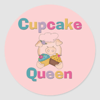 Pig Cupcake Queen T-shirts and Gifts Round Sticker