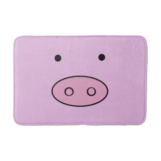Pig Face, Pig Nose, Cute Little Piggy - Pink Black Bath Mat