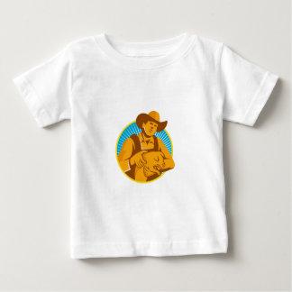 Pig Farmer Holding Piglet Front Retro Baby T-Shirt