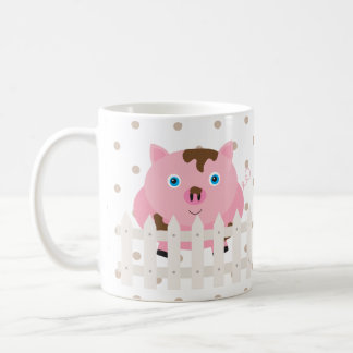 Pig Fence Farm Animal Dot Morning Sunshine Mug