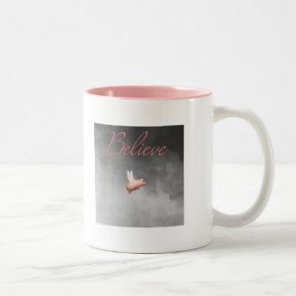 pig flying-believe Two-Tone coffee mug