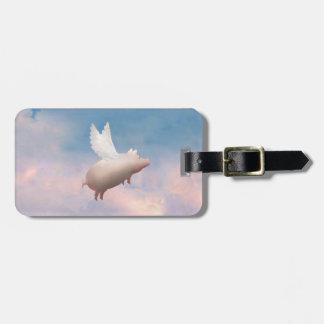 pig flying luggage tag