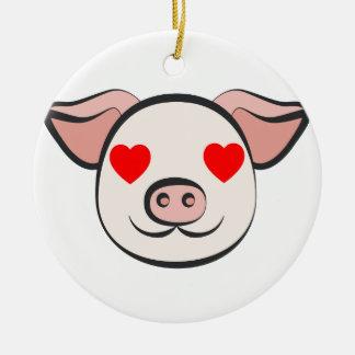 Pig Heart Emoji Ceramic Ornament