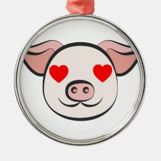 Pig Heart Emoji Metal Ornament