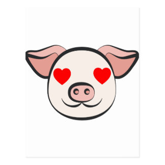 Pig Heart Emoji Postcard