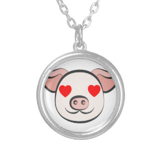 Pig Heart Emoji Silver Plated Necklace
