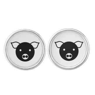 PIG ILLUSTRATION (BLACK AND WHITE) Round Cufflinks