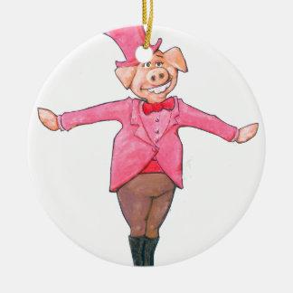 Pig in a Top Hat Ceramic Ornament