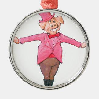 Pig in a Top Hat Metal Ornament