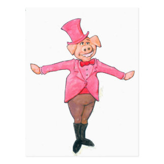 Pig in a Top Hat Postcard