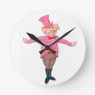Pig in a Top Hat Round Clock