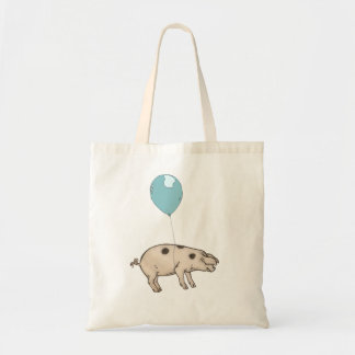 Pig in balloon tote bag