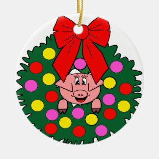 Pig in Christmas wreath Ceramic Ornament