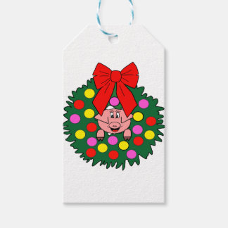 Pig in Christmas wreath Gift Tags