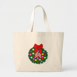 Pig in Christmas wreath Large Tote Bag