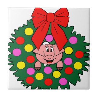 Pig in Christmas wreath Tile