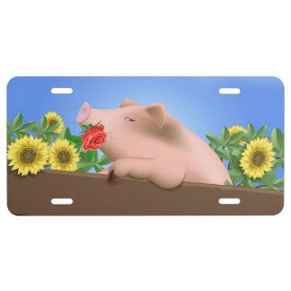 Pig in Pan License Plate