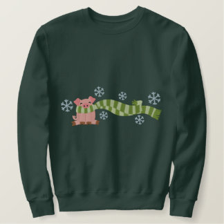 Pig In Scarf Embroidered Sweatshirt