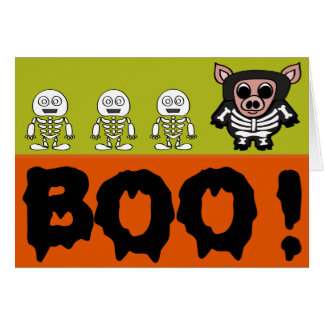 Pig in Skeleton Costume says BOO Card