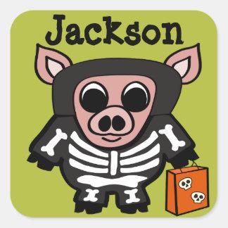 Pig in Skeleton Costume Trick or Treat Square Sticker