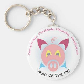 Pig Keys Basic Round Button Keychain