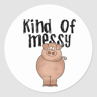 Pig Kind of Messy Classic Round Sticker