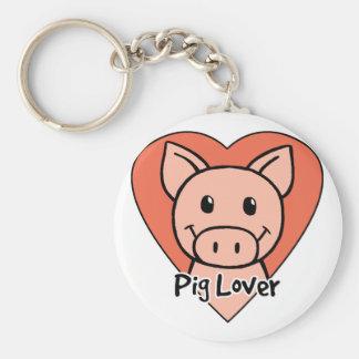 Pig Lover Basic Round Button Keychain