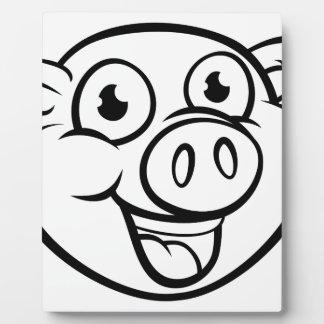 Pig Mascot Cartoon Character Plaque