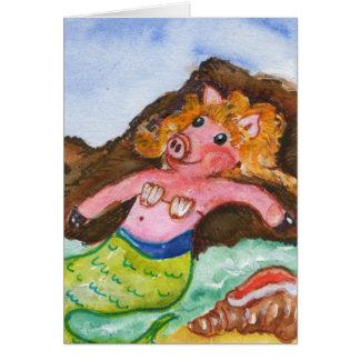 Pig Mermaid Card -  Merpig