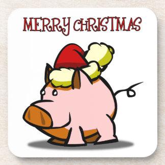Pig Merry Christmas Coaster