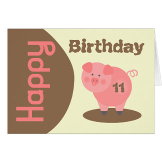 Pig Mud Puddle Birthday Card