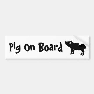 Pig On Board Bumper Sticker