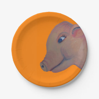pig on orange paper plate 7 inch paper plate