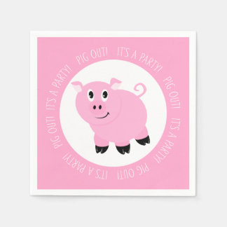 Pig Out It's A Party Cute Pink Piggy Birthday Paper Napkins