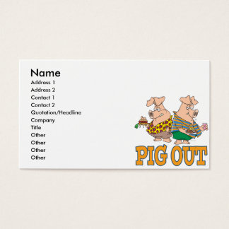 PIG OUT PIG FOOD CARTOON BUSINESS CARD