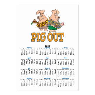 PIG OUT PIG FOOD CARTOON BUSINESS CARD TEMPLATE