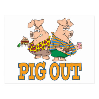 PIG OUT PIG FOOD CARTOON POSTCARD