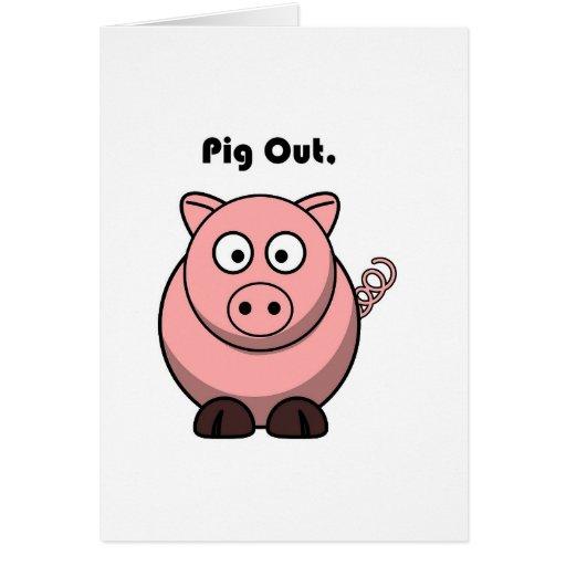 Pig Out Pink Piggy or Hog Cartoon Card