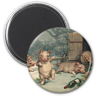 PIG PARTY 2 INCH ROUND MAGNET