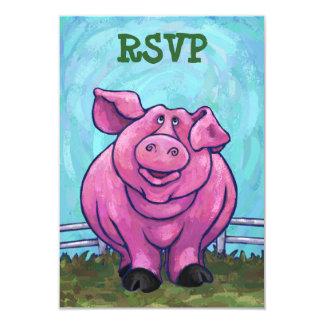 Pig Party Center RSVP Cards