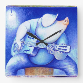 Pig playing guitar wallclock