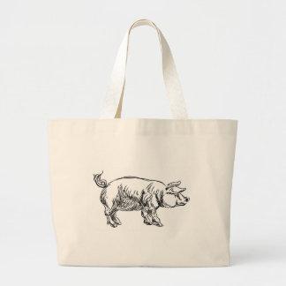 Pig Pork Food Grunge Style Hand Drawn Icon Large Tote Bag