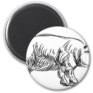 Pig Pork Food Grunge Style Hand Drawn Icon Magnet