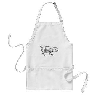 Pig Pork Food Grunge Style Hand Drawn Icon Standard Apron