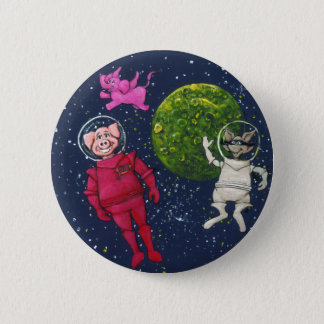Pig, Raccoon and Pink Elephant 2 Inch Round Button