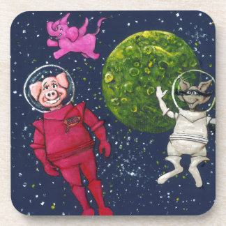 Pig, Raccoon and Pink Elephant Coaster