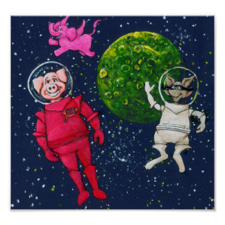 Pig, Raccoon and Pink Elephant in Space Poster