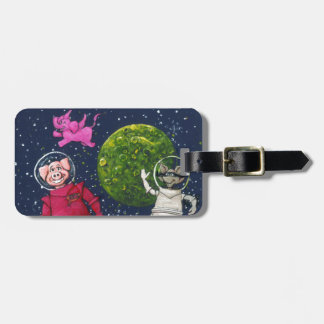 Pig, Raccoon and Pink Elephant Luggage Tag