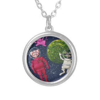 Pig, Raccoon and Pink Elephant Silver Plated Necklace