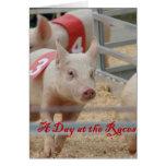 Pig racing, Pig race photograph, pink pig Greeting Card